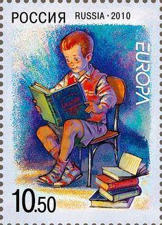 Russische Briefmarke zum Thema Kinderbücher 2010
