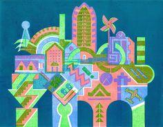 TIN TOWN A four colour linocut  by Bernard Lodge