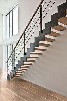 Treppe Holz/Stahl mit Holzhandlauf | Wohnideen | Treppen | Pinterest ...