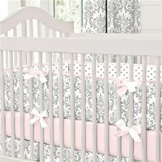 Pink and Gray Traditions Crib Bedding for Baby Girls by Carousel Designs. Baby Crib Sets, Baby Girl Bedding, Pink Bedding, Crib Bedding Sets, Baby Bedroom, Nursery Bedding, Baby Room Decor, Baby Rooms, Luxury Bedding