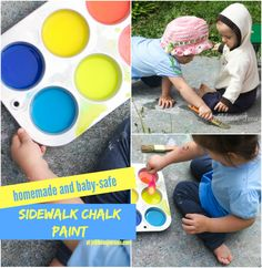 Homemade {Edible} Sidewalk Chalk Paint #sensory #diy #kids| Jellibeanjournals.com
