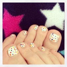 Multi Coloured Dots Toe Nail Design on 30 Amazing Cute Toe Nail Designs - http://www.naildesignsforyou.com/30-amazing-easy-cute-toe-nail-designs/ #toenails #toenail #toenaildesigns #toenailart #naildesigns #nailart