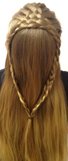 Previous description said: 8-strand french-braid split into two 4-strand braids joined at the ends, but I'm not convinced.