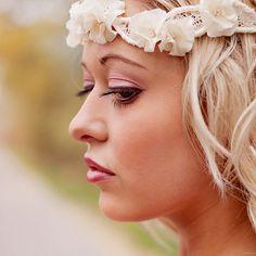 Ruffle Flower and Vintage Lace Wedding Halo Headband - Bridal head piece - wedding hair accessories -  ivory and rhinestone flowers
