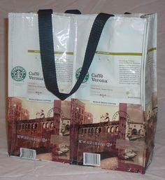 Recycled Tote Bag Starbucks Coffee Bean Bag -Verona (old bag style)