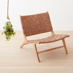 homenature - teak and leather chair- honey