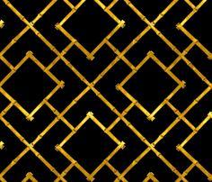 Osaka Bamboo Trellis / Ebony and Gold Leaf fabric by sparrowsong on Spoonflower - custom fabric