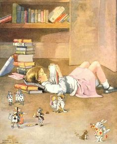 """""""Little girl reading Alice in Wonderland while it comes alive around her. """"My Books"""" by Honor C Appleton, Books And Tea, I Love Books, Books To Read, My Books, Reading Art, Girl Reading Book, World Of Books, Children's Book Illustration, Book Illustrations"""