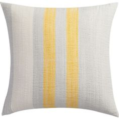 "yellow cotton-bamboo stripes 18"" pillow with feather-down insert  