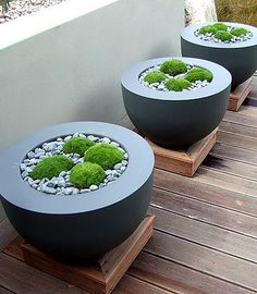 black planterson their own plinths, filled with gravel and moss - hints towards Japan - gorgeous for indoors too