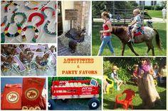 Western party- pony rides, sack races, toss horseshoes, saddle decor, red wagon,...