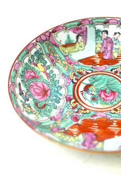 Vintage Chinese Porcelain Serving Plate Garden Party ACF Hand Painted