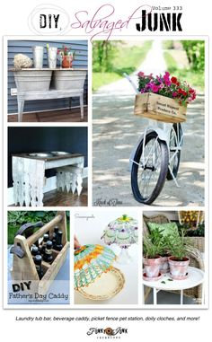 DIY salvaged junk projects 333 - new upcycled, easy to make projects, including doily cloches, picket fence pet station, old door beverage bar, and more!