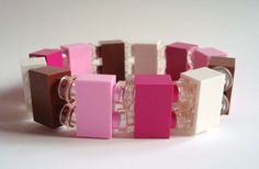 stretch bracelet made from Pink and Brown Lego (r) parts