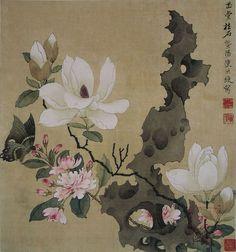 Magnolia and Erect Rock - Chen Hongshou - WikiPaintings.org