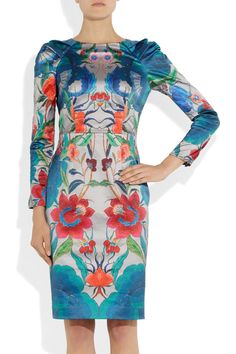 Lotus printed cotton and silk-blend dress