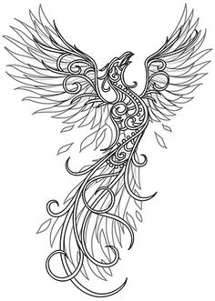 Unique Embroidery designs by hand pattern urban threads - Tribal Phoenix Tattoo, Phoenix Bird Tattoos, Tribal Tattoos, Phoenix Tattoo Sleeve, Chest Tattoo, Sleeve Tattoos, Kunst Tattoos, Body Art Tattoos, Tattoo Drawings