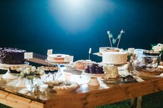Simple, outdoors. Mix of full desserts and mini sweets.