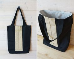 Tote bag - black and cream with outside pocket