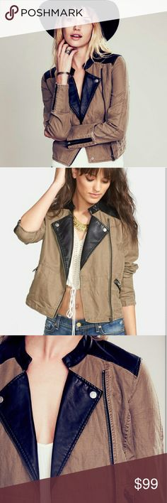 NWOT Free People Vegan Leather/Linen Moto Jacket Gorgeous free people moto jacket. Vegan leather and linen. So comfortable, absolutely gorgeous. In perfect condition, tags Ling gone but never worn. Perfect for fall! Feel free to make an offer! Free People Jackets & Coats