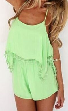 Super Cute! Love Love LOVE this Color so Much! Awesome Crossover Back Design! Stylish Fresh Mint Green Spaghetti Strap Criss-Cross Backless Jumpsuit! Hot Summer Fashion #Cute #Mint #Mint_Green #Sexy #Criss_Cross #Jumpsuit #Summer #Beach #Fashion