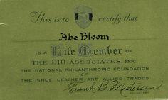 Abe Blooms lifetime membership card to Two Ten