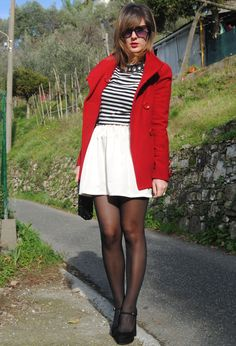 Red & stripes  #outfit , Zara in Jackets, Zara in Shirt / Blouses, DIY in Skirts, Dune in Heels / Wedges