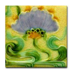 art nouveau tiles | Art Nouveau Floral Wall Tile or Coaster
