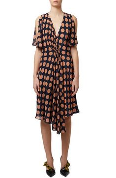 Topshop Unique 'Belfour' Polka Dot Split Sleeve Silk Dress available at #Nordstrom