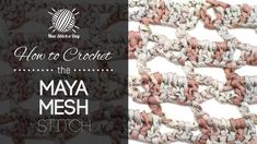 This video crochet tutorial will help you learn how to crochet the maya mesh block stitch. This stitch creates a fun boxed shape patterns. The maya mesh block stitch would be great for afghans, shawl and baby blankets!