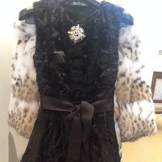 Astrakhan top with jewel button: Chic change for leather trousers.. @harrods @josephfashion @matchesfashion #fur #astrakhan #luxury #instacool #stylist #personalstylist