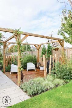 Backyard Garden Design, Terrace Garden, Garden Paths, Back Gardens, Outdoor Gardens, Little Gardens, Small Garden Landscape, Garden Trellis, Pergola Patio