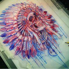 inheemse amerikaanse cheif & # s schedel tattoo schets - bilder dekoration