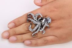 Austrian crystals Glam-Punk design Stretch-band, one-size fits all Octopus Ring, Leagues Under The Sea, Stretch Bands, Austrian Crystal, Crystals, Rings, Jewelry, Jewellery Making, Jewels