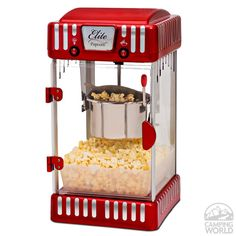 Pop up to a gallon of hot, fresh, delicious popcorn at a time with this retro-style popcorn popper. Whether popping corn for a fundraiser, birthday party, or movie night with friends, the appliance offers a festive addition to any social gathering. Reminiscent of the old-fashioned theatre-style popcorn carts, but in a smaller size that can fit on a countertop or table.