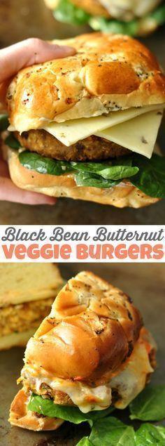 Healthy Homemade Black Bean Butternut Veggie Burgers. #healthy #vegetarian #dinner #freezerfriendly #makeahead #mealprep
