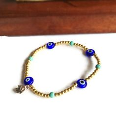 Blue Evil Eye Bracelet with Turquoise Beads