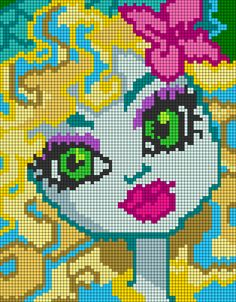 Monster High Lagoona Blue pixel pattern by qwazy2