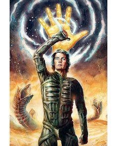 The Geeky Nerfherder: 'Dune' by Jean-Sebastien Rossbach Dune Book, Dune Frank Herbert, Dune Art, Denis Villeneuve, Pop Culture Art, Sci Fi Books, Horror Comics, Movie Poster Art, Science Fiction Art