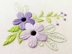 Floral Embroidery Pattern for Beginners – Craft & Patterns PDF Hand Embroidery Pattern Violet Flower Botanical Hand Embroidery Patterns Flowers, Hand Embroidery Tutorial, Silk Ribbon Embroidery, Crewel Embroidery, Hand Embroidery Designs, Embroidery Thread, Eyeliner Embroidery, Modern Embroidery, Embroidery Ideas