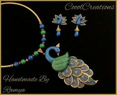Funky Jewelry, Jewelry Model, Jewelry Crafts, Beaded Jewelry, Handmade Jewelry, Terracotta Jewellery Designs, Terracota Jewellery, Clay Beads, Polymer Clay Jewelry