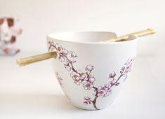 Hand Painted Noodle Bowl  Cherry Blossoms Botanical por yevgenia