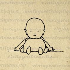Digital Cute Baby Image Graphic Cartoon Printable Download