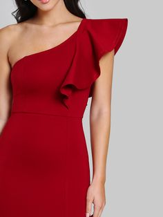 Shop Flounce One Shoulder Slit Fishtail Dress online. SheIn offers Flounce One Shoulder Slit Fishtail Dress & more to fit your fashionable needs. Belted Shirt Dress, Slit Dress, Tee Dress, Dress Skirt, Dress Red, Fishtail Dress, Bodycon Dress Parties, Fast Fashion, Elegant Dresses