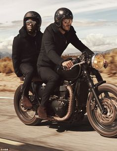 Kevin Hart and David Beckham ride a motorcycle for H&M's fall-winter 2016 Modern Essentials campaign. Triumph Cafe Racer, Triumph Scrambler, Cafe Racer Bikes, Cafe Racer Motorcycle, Moto Bike, Motorcycle Style, Triumph Motorcycles, Biker Style, Custom Motorcycles