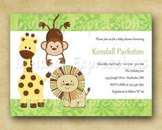 Jungle Animals Baby Shower Invitations.  via Etsy.