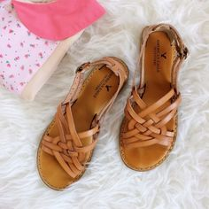 American Eagle Leather Sandals Cognac leather slip on sandals with pretty lattice detailing. Worn a few times with little wear - nearly perfect condition. There's a good amount of cushion in the soles. Great for summer! ☀️ American Eagle Outfitters Shoes Sandals