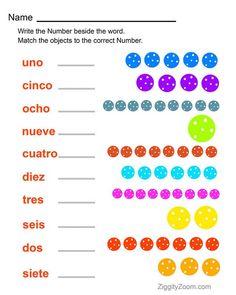 Spanish Numbers Worksheet -