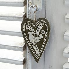 Painted Bird Hanging Heart Decoration