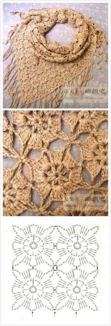 Beautiful crochet shawl with crochet diagram Crochet Motifs, Crochet Diagram, Crochet Squares, Crochet Stitches, Poncho Au Crochet, Mode Crochet, Crochet Shawls And Wraps, Lace Shawls, Crochet Beanie